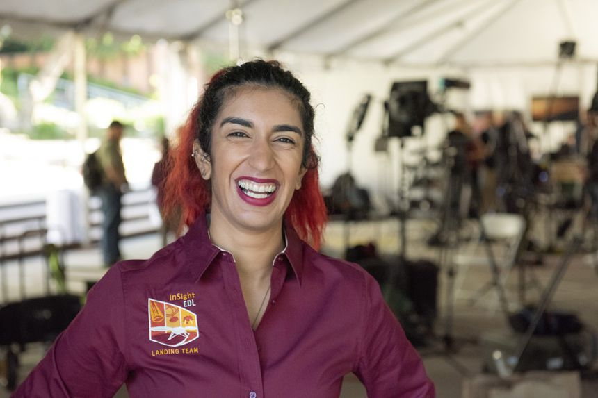 Farah Alibay, happy and relieved, the day InSight arrived on Mars in 2018.