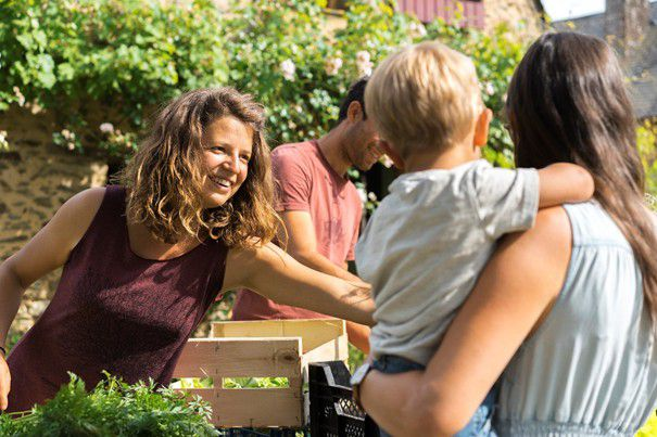 """""""We sell our baskets of organic vegetables on the farm and in a small neighboring village."""